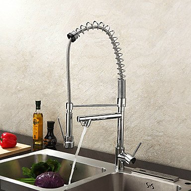Contemporary Pot Filler Deck Mounted Pullout Spray / Pre Rinse withCeramic Valve Single Handle One Hole forChrome Kitchen faucet by Zheng