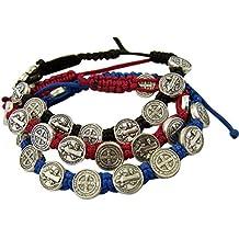 Saint Benedict Evil Protection Medal on Adjustable Cord Bracelet, Set of 3, 8 Inch