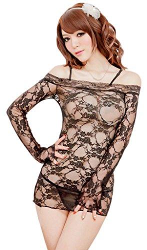 Toyobuy Women Floral Lace Sheer Slim Nightgown Sleep Dress Black by Toyobuy