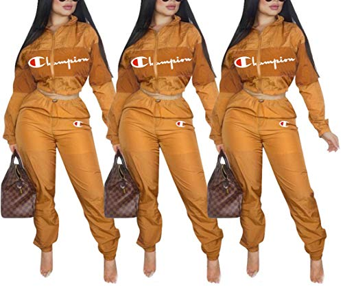 Womens 2 Piece Outfits Tracksuit Set Casual Letter Print Blazer Crop Sweatshirts and Skinny Long Pants Top and Pants Romper