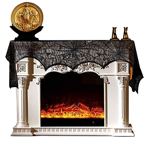 NEEDOON Halloween Decoration Spiderweb Fireplace Mantel Scarf Table Cloth Black Lace Cover Mysterious Festival Party Supplies for Windows Doors Table Decoration 98X18 inch
