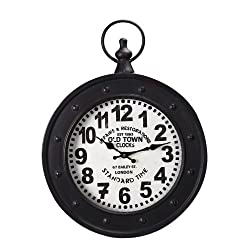 Adeco Old Town Clocks Black Iron Old World-Inspired Pocket Watch Style Wall Hanging Clock