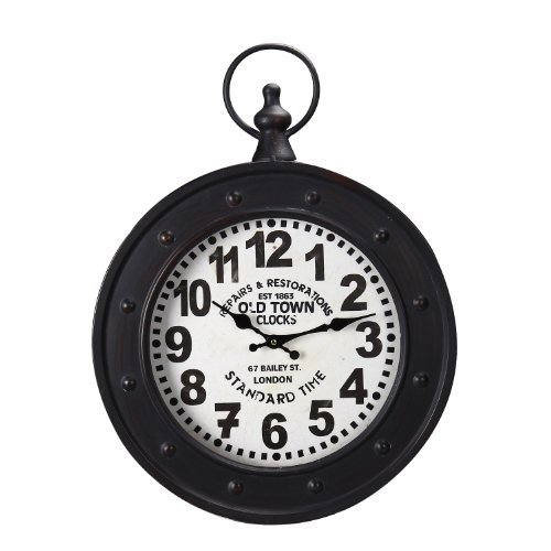 Adeco CK0008 Old Town Clocks Black Iron Old World-Inspired Pocket Watch Style Wall Hanging Clock, Black