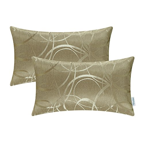 CaliTime Pack of 2 Cushion Covers Bolster Pillow Cases Shells for Couch Sofa Home Decor Modern Shining & Dull Contrast Circles Rings Geometric 12 X 20 Inches Amber Gold