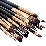 Summifit 20 Pcs Makeup Brush Set Eyeshadow Eyeliner Lip Toiletry Kit Professional Powder Foundation Mineral Cosmetic Tools (Coffee)