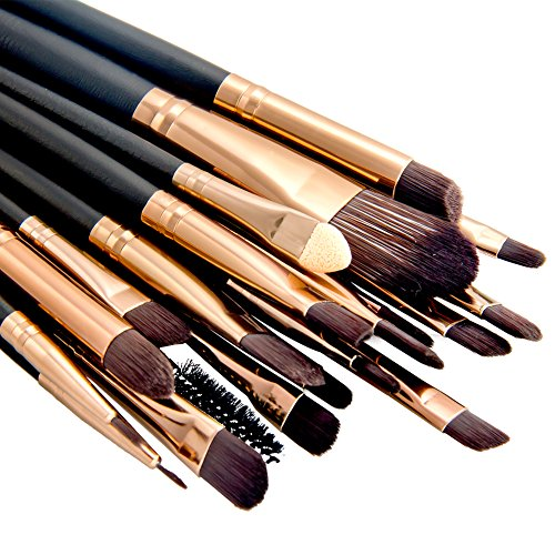 Summifit 20 Pcs Makeup Brush Set Eyeshadow Eyeliner Lip Toiletry Kit Professional Powder Foundation Mineral Cosmetic Tools (Coffee) - 50 Piece Round Liners