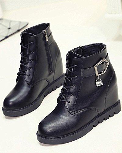 Minetom Mujer Otoño Invierno Cordones Martin Boots Talón De Cuña Botas Altura Creciente Zapatos Botas Negro