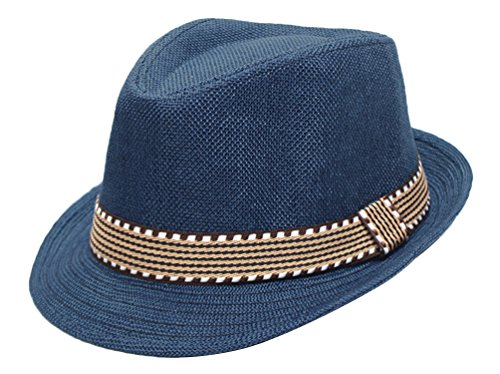 EachEver Kid Boys Fedora Hat Jazz Cap Cotton Photography Trilby Top Sun Hats Blue