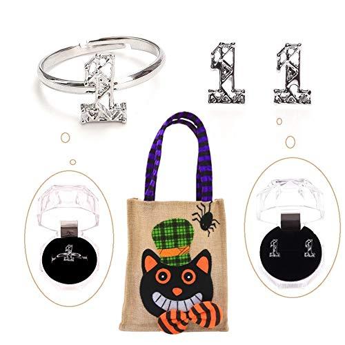 Youyouchard Kpop BTS TWICE GOT7 WANNA ONE Women Jewelry| Earrings Stud Jewelry+Finger Open Knuckle Ring Adjustable+Halloween Linen Handbag| A Happy Gift for Halloween(WANNA ONE) -