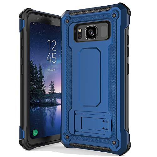 Anccer Armor Series for Samsung Galaxy S8 Active Case with Kickstand Anti Shock Dual Layer Anti Fingerprint Protective Cover for Galaxy S8 Active (Not Fit for Galaxy S8) - Blue