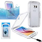 Galaxy S6/S6 Edge Case, Insten Waterproof Hard Snap On Full Body Rugged IP68 Touch Screen Case Cover Perfect for Swimming Diving Compatible With Samsung Galaxy S6/S6 Edge, Clear/White