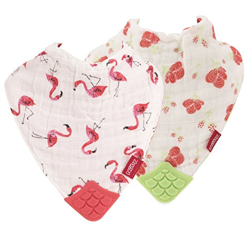 Nuby 2 Piece Reversible 100% Natural Cotton Muslin Teething Bib, Flamingo/Flowers, Pink/Green ()