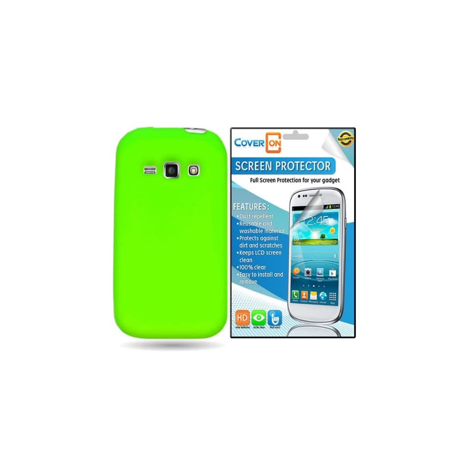 CoverON® Samsung Galaxy Ring / Prevail 2 Silicone Rubber Soft Skin Case Cover Bundle with Clear Anti Glare LCD Screen Protector   Neon Green Cell Phones & Accessories