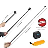 TELESIN Ultra long Carbon Fiber GoPro Selfie Stick Monopod for GoPro 6/5/4/3+and most digital camers/cellphones. Telescopic 180 degree Rotation Waterproof Extendable 3 lengths 22'' 47.2'' and 106''