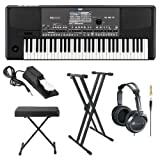 Korg PA600 Professional Arranger Keyboard with Knox Keyboard Bench, Knox Keyboard Stand JVC Full-Sized Headphones and Universal Sustain Pedal