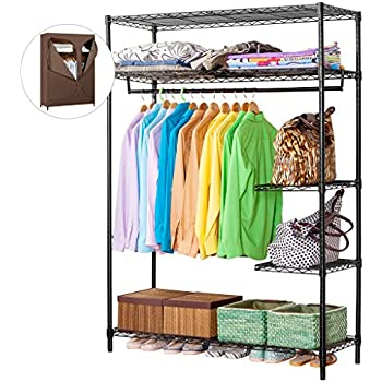 LANGRIA Heavy Duty Wire Shelving Garment Rack Clothes Rack, Portable Clothes  Closet Wardrobe,Compact Zip Closet, Extra Large Wardrobe Storage  Rack/Organizer ...