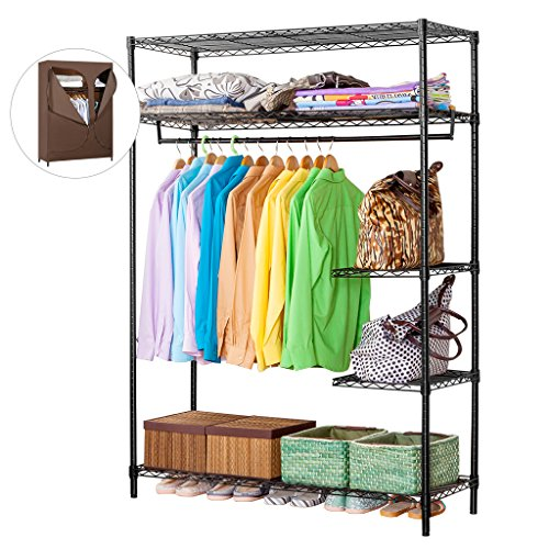 LANGRIA Heavy Duty Wire Shelving Garment Rack Clothes Rack, Portable Clothes Closet Wardrobe,Compact Zip Closet, Extra Large Wardrobe Storage Rack/Organizer, Hanging Rod,Capacity 420 lbs, Dark -