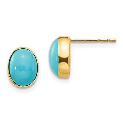 findout 14K rose gold plated titanium steel turquoise bean earrings.for women girls. (1732) hraPDsYnb