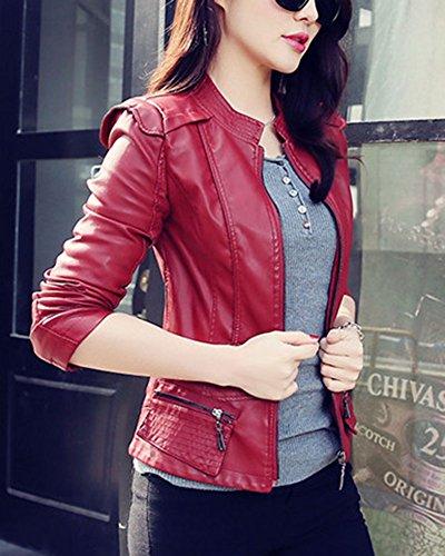 Souple Manteau Manteaux DianShao Zipper Veste Motorcycle PU Rouge Femme Slim Vin Cuir Outwear UHHBYw