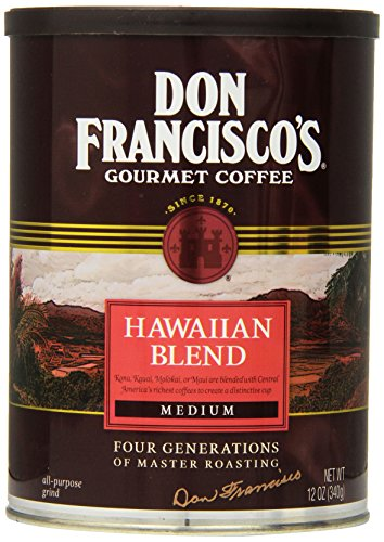 Don Francisco's Hawaiian Blend, Premium 100% Arabica Coffee, Medium Roast, Ground, 12-Ounce - Center Hawaiian