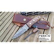 Handmade Damascus Hunting Knife - Beautiful Bushcraft Knife with Fire Steel & Sheath