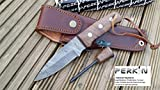 Boot Knife Holster Best Deals - Damascus Steel Hunting Knife Full Tang With Fire Starter