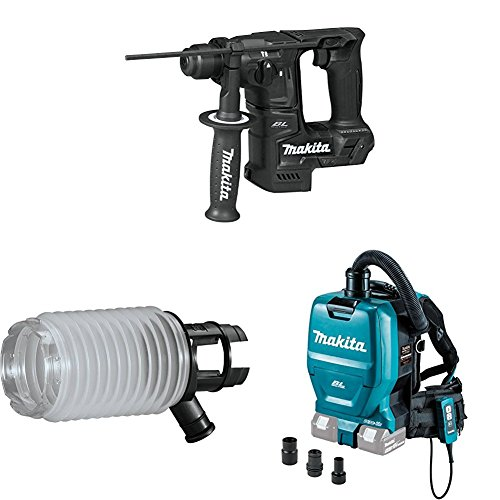 "Makita XRH06ZB 18V LXT Sub-Compact Brushless 11/16"" Rotary Hammer, 198362-9 Dust Extraction Cup, XCV05ZX 18V X2 (36V) Brushless 1/2 Gallon HEPA Filter Backpack Dry Dust Extractor/Vacuum w/Adapters"