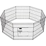 Cheap Ollieroo Dog/Cat Exercise Playpen Outdoor/Indoor Cage 8 Panels Black