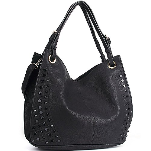 Black Hobo (JOYSON Women Bags Tote Shoulder Handbags Hobo PU Leather Purse Bags Large Capacity Black)