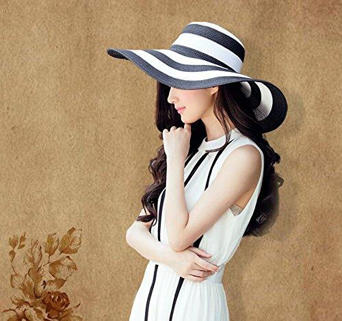 1PCS Womens Lady Grils White+Black Striped Foldable Beachwear Wide Big Brim Elegant Sun Hat Summer Beach Straw Cap UPF 50+