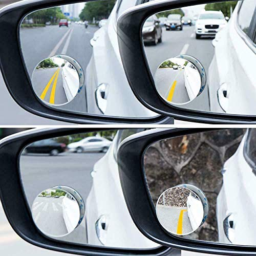 - 2 Pcs Adjustable Round Blind Spot Mirror HD Glass Frameles Car Convex Side Wide Rear View