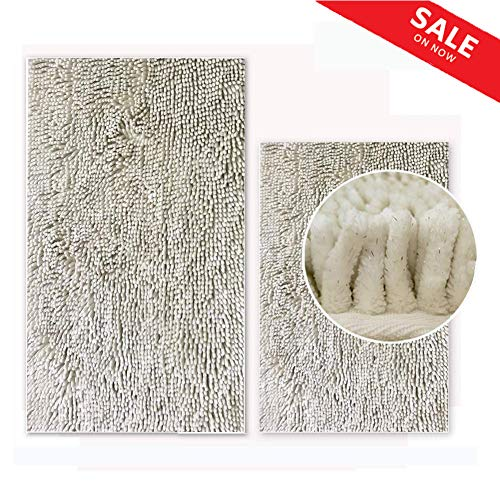 - Bath Mat, Non-Slip Bath Rug with Silver Sparkles, Machine-Washable Luxury Soft Chenille Absorbent Little Square Carpet for Bathroom | Bedside | Door, 2 Pack (20