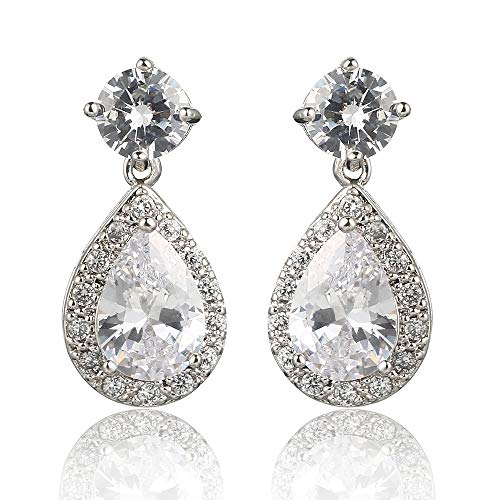 Pear Shaped Crystal - Meyome Pear Shaped Zirconia Drop Earrings White Crystal Wedding Bridal Earrings in Platinum White Gold Plated (White)