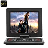 12.1 Inch Portable DVD Player - 270 Degree Rotating Screen, 1366x768 Resolution, Copy Function, Game Emulation, 1200mAh Battery