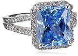 "Myia Passiello ""Cocktail Ring"" Emerald Cut Swarovski Zirconia Fancy Blue Ring"