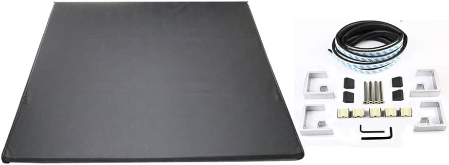 Amazon Com Ikon Motorsports Tonneau Cover Compatible With 2014 2020 Toyota Tundra Tri Fold Soft Style Double Sided 24 Oz Vinyl Aluminum Black 8ft 96in Trunk Bed 2015 2016 Automotive