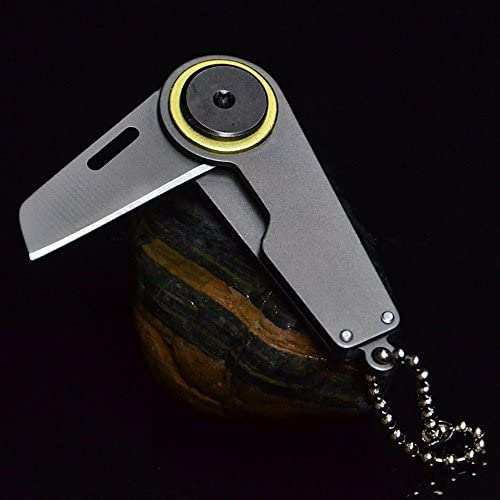 SZHOWORLD Mini Folding Pocket Knife Outdoor Survive Tool EDC Keychain Knife with Hanging Chain