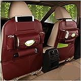 MLOVESIE PU Leather Car Seat Back Organizer Trunk Travel Seat Storage Protectors for Kids Toys Bottles Tissue Box Cellphone IPad Tablet Tissue Box Umbrella