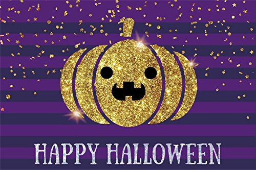 (Laeacco 5x3ft Happy Halloween Backdrop Vinyl Gloden Glitter Pumpkin Lamp Chippings Purple Stripes Photography Backgroud Child Baby Shoot Poster Trick or Treat Party Banner)