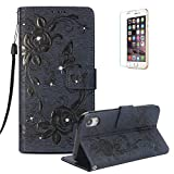 Funyye Shiny Sparkle Case for iPhone XR 6.1 inch[with Free Screen Protector],Stylish [3D Shine Diamond Butterfly Embossing] Magnetic Closure Wallet Case with Credit Card Holder Ultra Thin Soft Silicone PU Leather Stand Function Smart Flip Case for iPhone XR 6.1 inch,Dark Blue