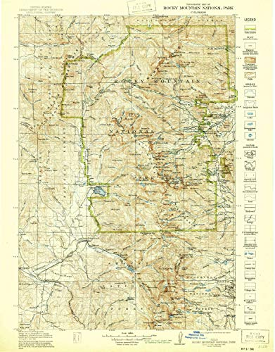 YellowMaps Rocky Mountain National Park CO topo map, 1:125000 Scale, 30 X 30 Minute, Historical, 1919, Updated 1940, 21.8 x 17.1 in - Tyvek