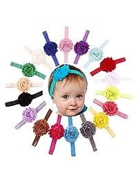 Changeshopping 18PCS Babys Girls Elastic Shabby Flower Headband Photography Headbands (A)