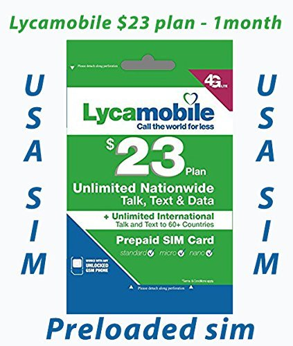 Lycamobile Preloaded Sim Card with $23 Plan Service Plan with Unlimited talk text and Data by Lycamobile