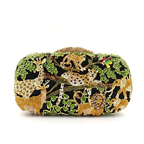 de Sac creux de de Sac Sac de cristal luxe animale de diamant dîner de forêt métal à main strass A de qwE4A14CnZ