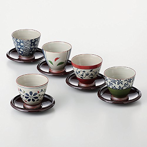 TOKYO MATCHA SELECTION - [VALUE] Senchawan 5 teacups & saucers set w box - Japanese Aritayaki Porcelain [Standard ship by Int'l e-packet: with Tracking & Insurance] by Tokyo Matcha Selection