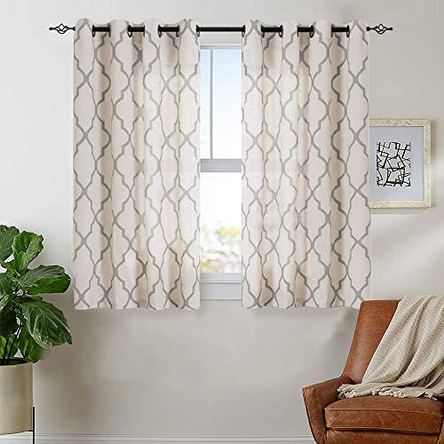 jinchan Moroccan Tile Print Curtains for Bedroom- Quatrefoil Flax Linen Blend Textured Geometry Lattice Grommet Window Treatment Set for Living Room - 50