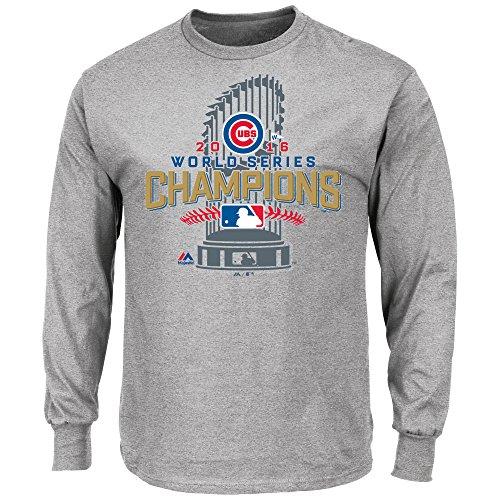 - VF Chicago Cubs MLB Mens Majestic Long Sleeve 2016 World Series Champions Shirt Gray Size 4XL
