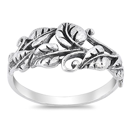 - Oxidized Tree Leaf Vine Forest Filigree Ring 925 Sterling Silver Band Size 9