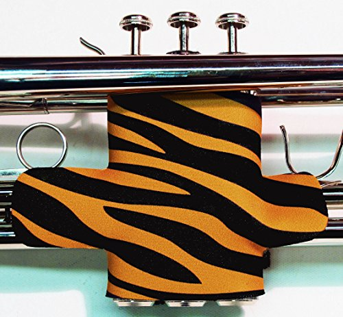 Neoprene Trumpet Valve Guard with hook and loop in over 60 colors and patterns by Legacystraps Zebra Stripe Gold Design