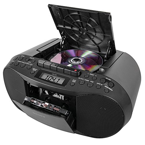 P3 Cassette Boombox Home Audio Radio, Black, With Aux Cable ()